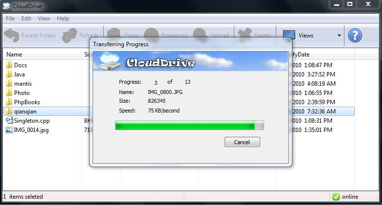 Click to view Cloud Drive 0.68 screenshot
